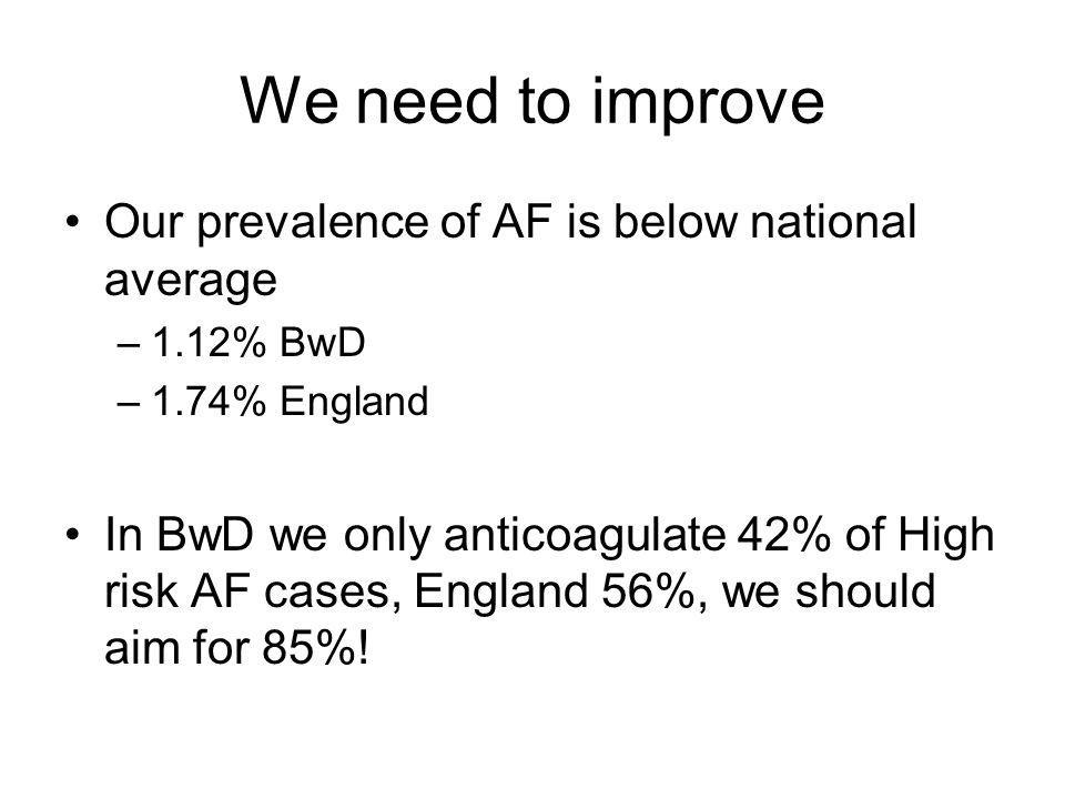 Stroke in AF 14% of all strokes are due to AF AF increases risk of stroke five-fold 16 000 strokes per year occur in AF patients, 12 500 of these are directly attributable to the AF AF strokes tend to be bigger and more disabling Warfarin reduces stroke risk by around 2/3