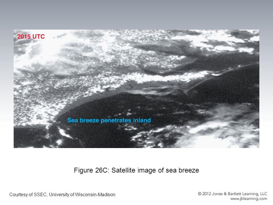 Figure 26C: Satellite image of sea breeze Courtesy of SSEC, University of Wisconsin-Madison