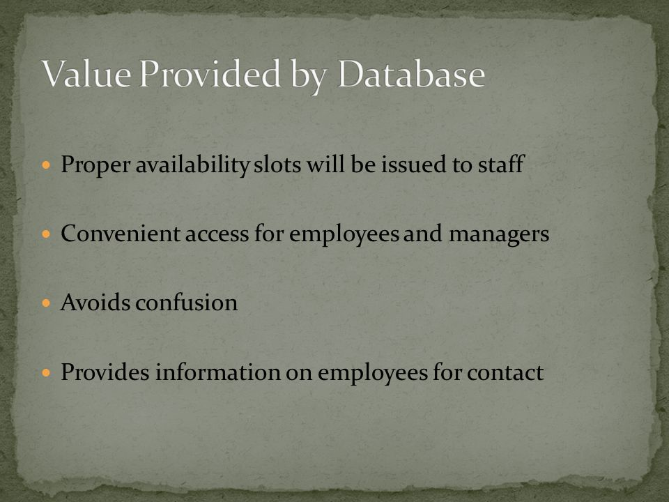 Proper availability slots will be issued to staff Convenient access for employees and managers Avoids confusion Provides information on employees for contact