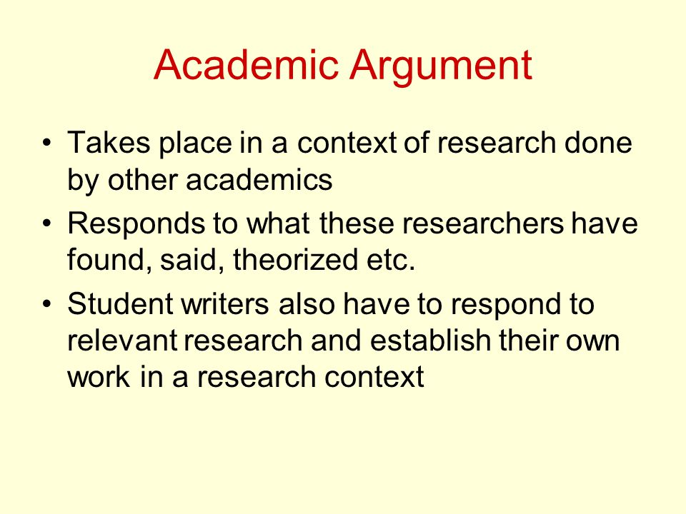 Academic Argument Takes place in a context of research done by other academics Responds to what these researchers have found, said, theorized etc.