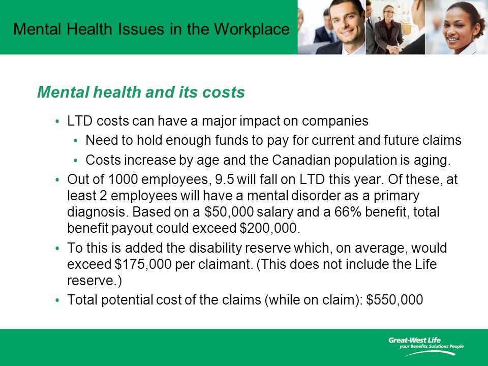 Mental Health Issues in the Workplace Mental health and its costs LTD costs can have a major impact on companies Need to hold enough funds to pay for current and future claims Costs increase by age and the Canadian population is aging.