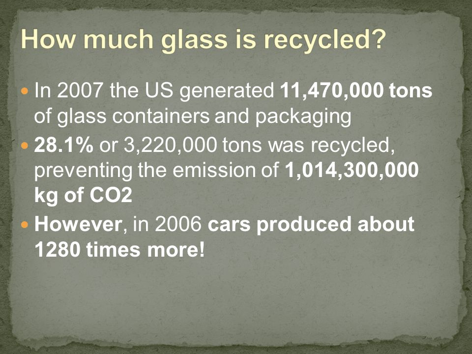 In 2007 the US generated 11,470,000 tons of glass containers and packaging 28.1% or 3,220,000 tons was recycled, preventing the emission of 1,014,300,