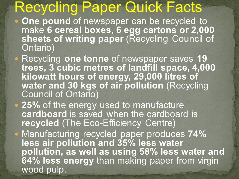 Recycling Paper Quick Facts One pound of newspaper can be recycled to make 6 cereal boxes, 6 egg cartons or 2,000 sheets of writing paper (Recycling C