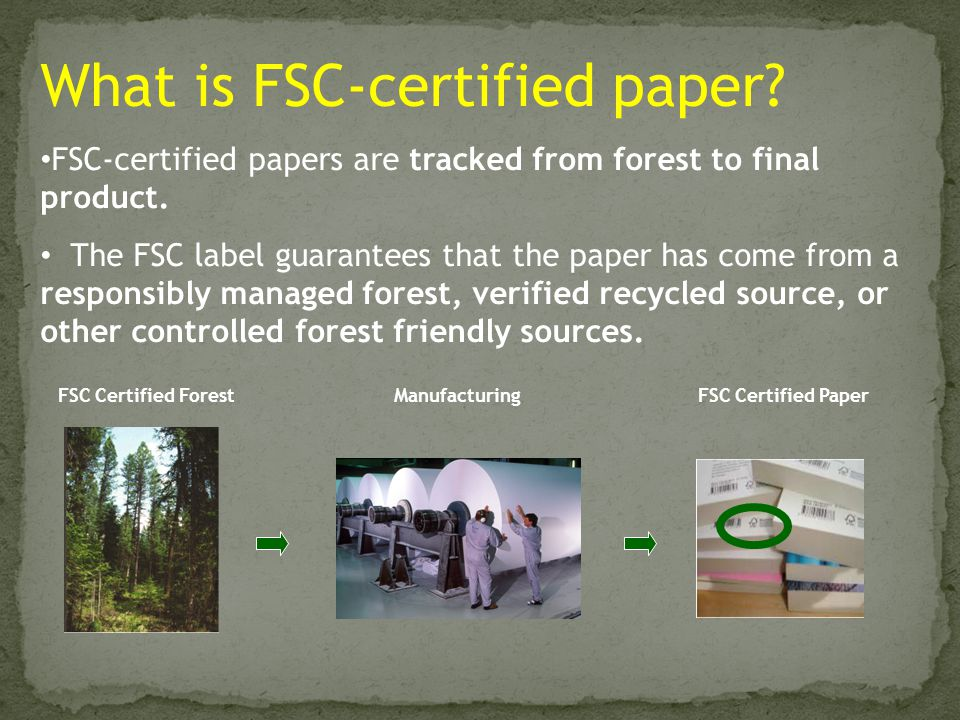 FSC Certified ForestManufacturingFSC Certified Paper What is FSC-certified paper? FSC-certified papers are tracked from forest to final product. The F