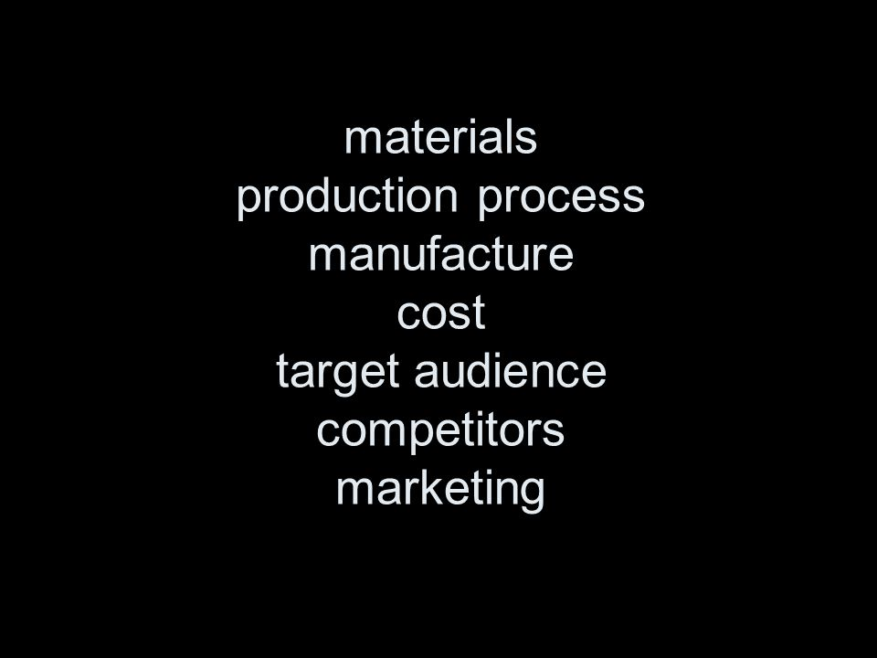 materials production process manufacture cost target audience competitors marketing