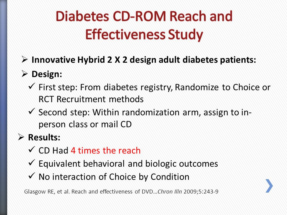  Innovative Hybrid 2 X 2 design adult diabetes patients:  Design: First step: From diabetes registry, Randomize to Choice or RCT Recruitment methods Second step: Within randomization arm, assign to in- person class or mail CD  Results: CD Had 4 times the reach Equivalent behavioral and biologic outcomes No interaction of Choice by Condition Glasgow RE, et al.