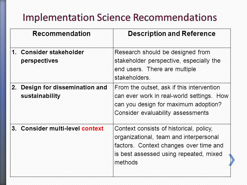 Recommendation Description and Reference 1.Consider stakeholder perspectives Research should be designed from stakeholder perspective, especially the end users.