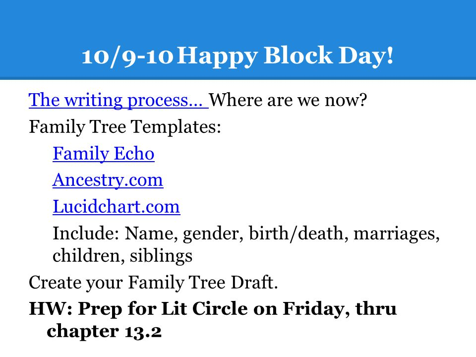 10/9-10Happy Block Day! The writing process… The writing process… Where are we now? Family Tree Templates: Family Echo Ancestry.com Lucidchart.com Inc