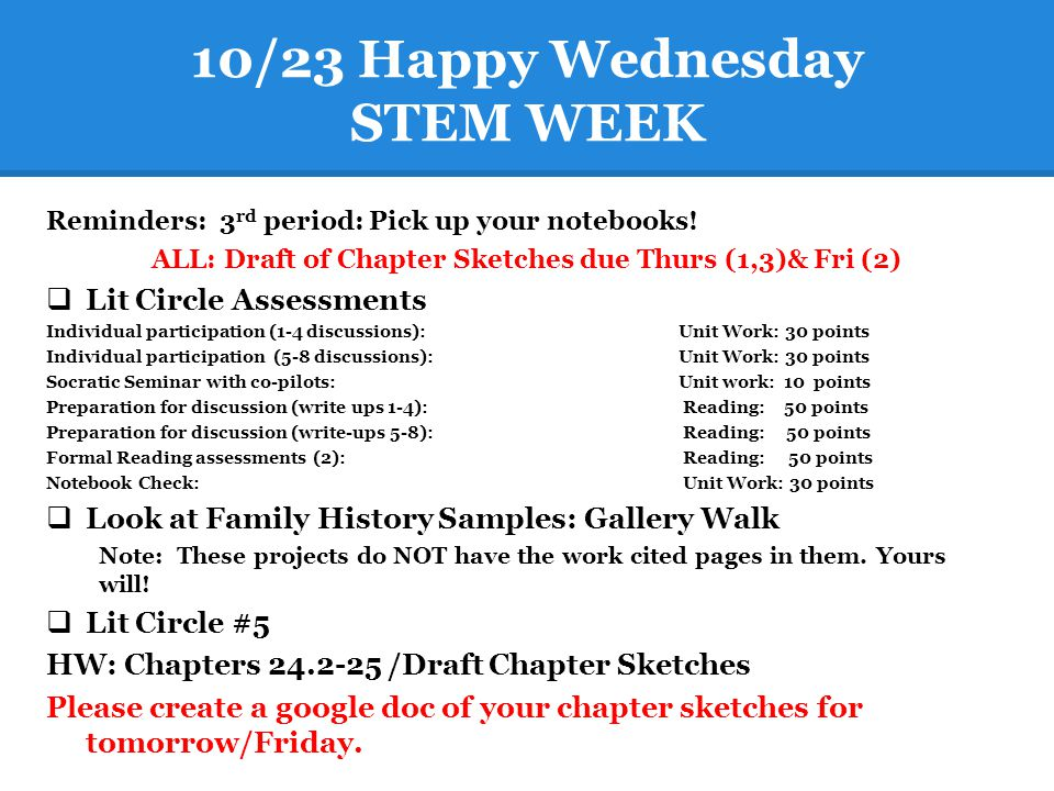 10/23 Happy Wednesday STEM WEEK Reminders: 3 rd period: Pick up your notebooks! ALL: Draft of Chapter Sketches due Thurs (1,3)& Fri (2)  Lit Circle A
