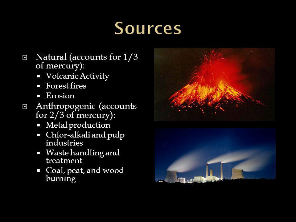  Natural (accounts for 1/3 of mercury):  Volcanic Activity  Forest fires  Erosion  Anthropogenic (accounts for 2/3 of mercury):  Metal production  Chlor-alkali and pulp industries  Waste handling and treatment  Coal, peat, and wood burning