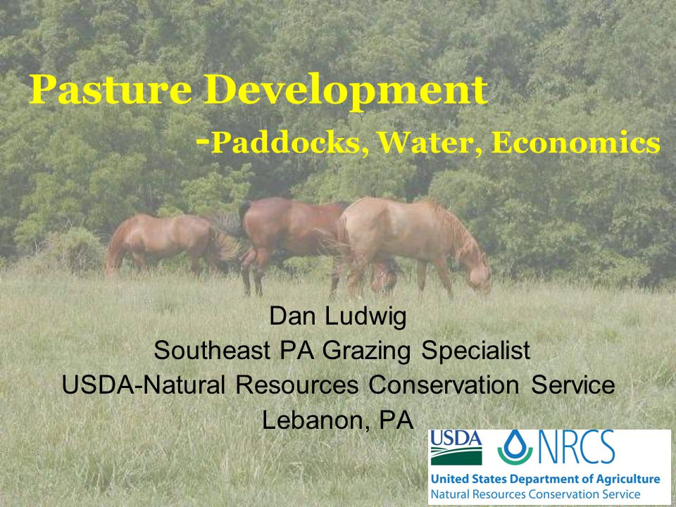 Pasture Development - Paddocks, Water, Economics Dan Ludwig Southeast PA Grazing Specialist USDA-Natural Resources Conservation Service Lebanon, PA