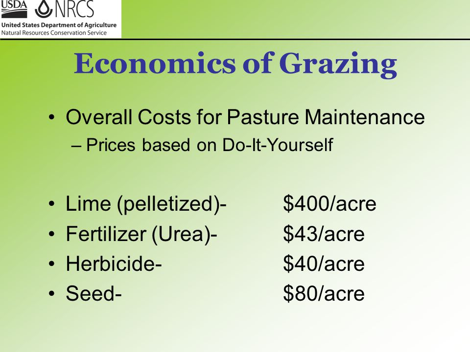 Economics of Grazing Overall Costs for Pasture Maintenance –Prices based on Do-It-Yourself Lime (pelletized)-$400/acre Fertilizer (Urea)-$43/acre Herb