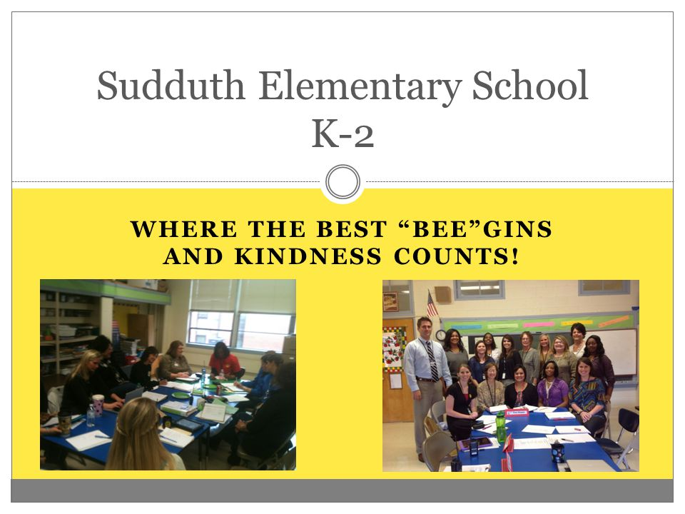 "WHERE THE BEST ""BEE""GINS AND KINDNESS COUNTS! Sudduth Elementary School K-2"