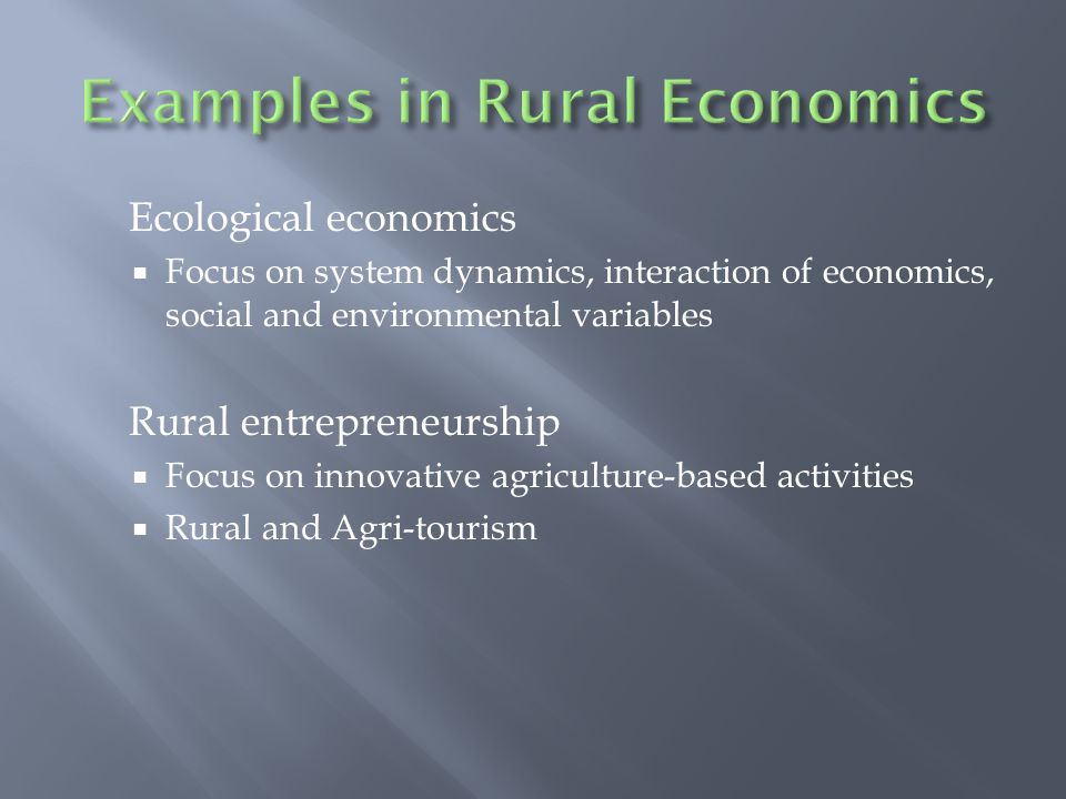 Ecological economics  Focus on system dynamics, interaction of economics, social and environmental variables Rural entrepreneurship  Focus on innovative agriculture-based activities  Rural and Agri-tourism