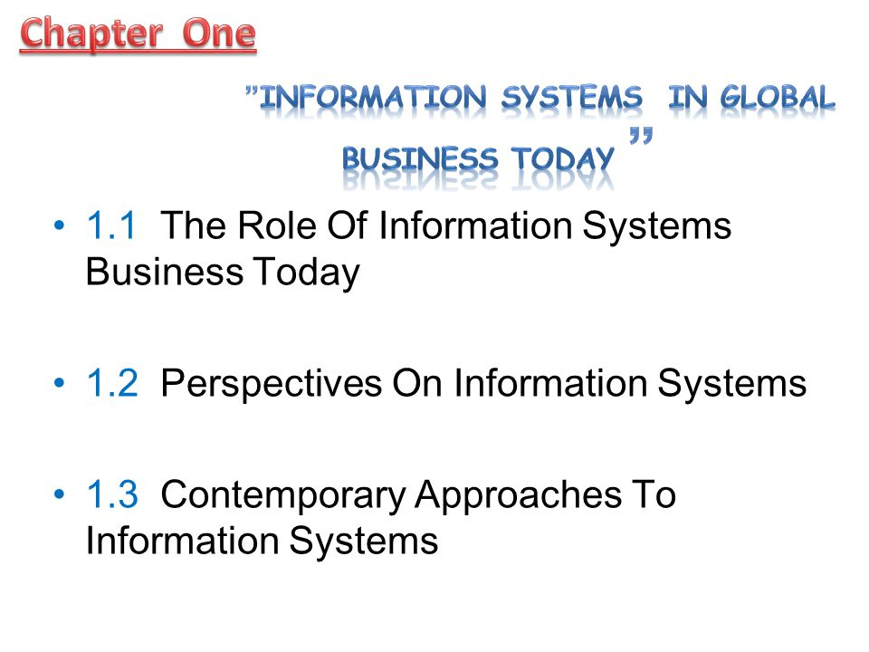 1.1 The Role Of Information Systems In Business Today How information systems are transforming business.