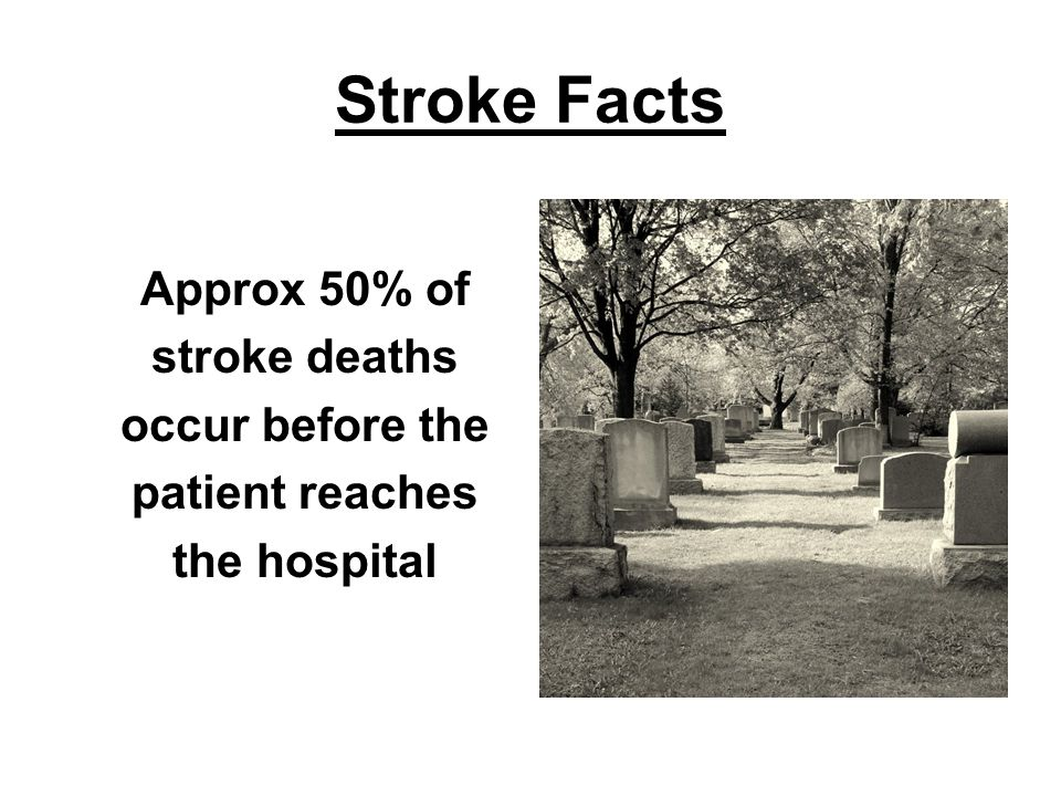 Impact of Stroke in the United States Of all CVDs, stroke is the third leading cause of death Annual incidence –780,000 strokes 600,000 first attacks 180,000 recurrent attacks 15% of strokes are heralded by TIA 90-day risk of stroke after TIA: 3%–17% –Highest risk within the first 30 days American Heart Association.