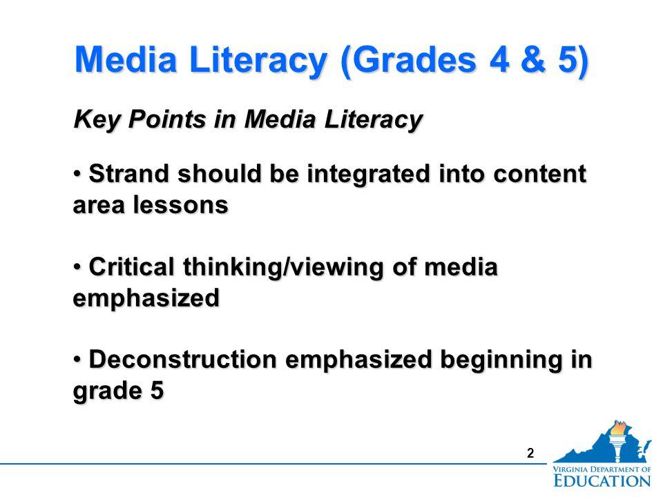 2 Media Literacy (Grades 4 & 5) Strand should be integrated into content area lessons Strand should be integrated into content area lessons Critical t