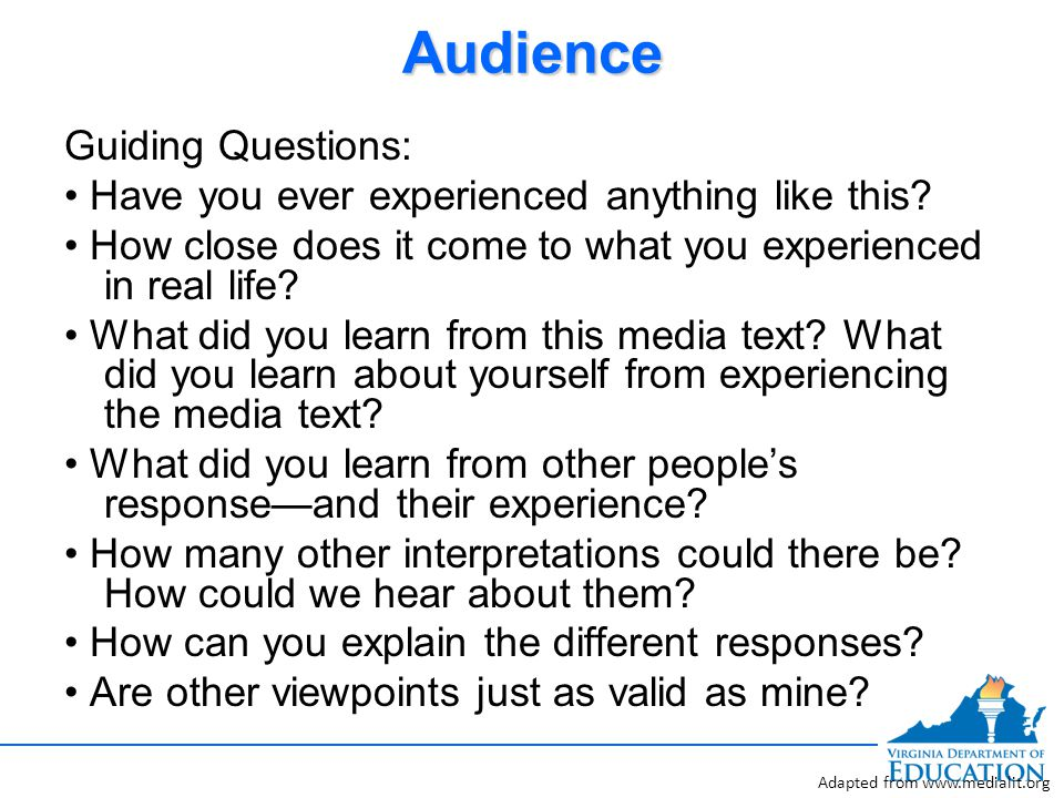 AudienceAudience Guiding Questions: Have you ever experienced anything like this.