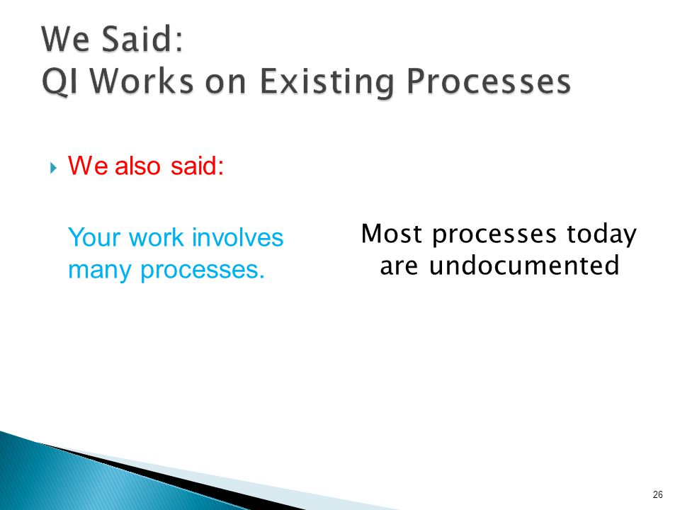  We also said: Your work involves many processes. Most processes today are undocumented 26