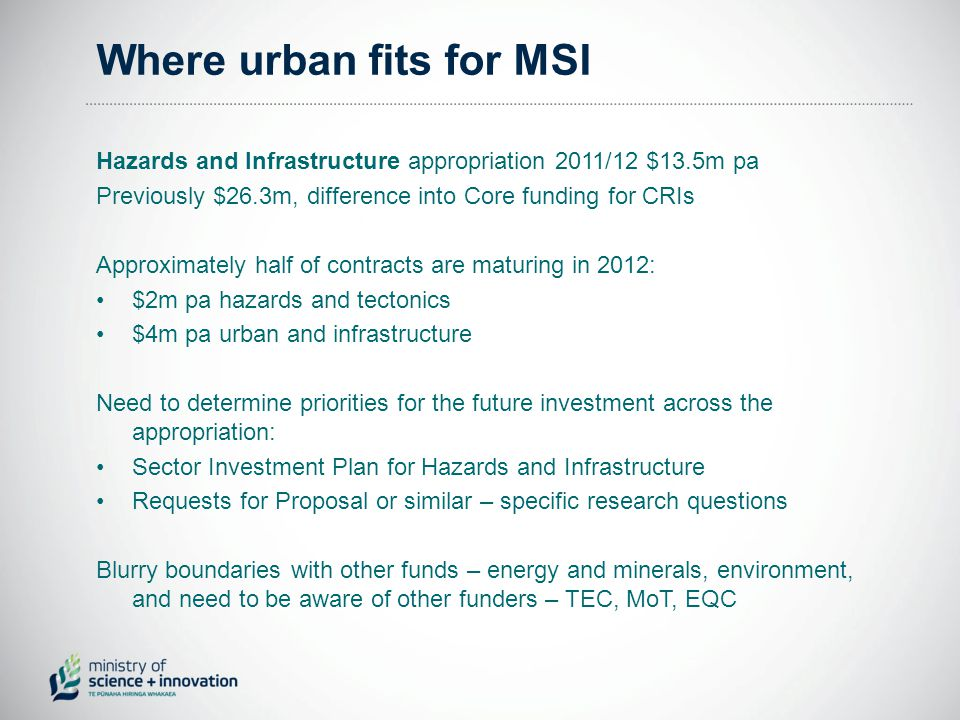 Where urban fits for MSI Hazards and Infrastructure appropriation 2011/12 $13.5m pa Previously $26.3m, difference into Core funding for CRIs Approximately half of contracts are maturing in 2012: $2m pa hazards and tectonics $4m pa urban and infrastructure Need to determine priorities for the future investment across the appropriation: Sector Investment Plan for Hazards and Infrastructure Requests for Proposal or similar – specific research questions Blurry boundaries with other funds – energy and minerals, environment, and need to be aware of other funders – TEC, MoT, EQC