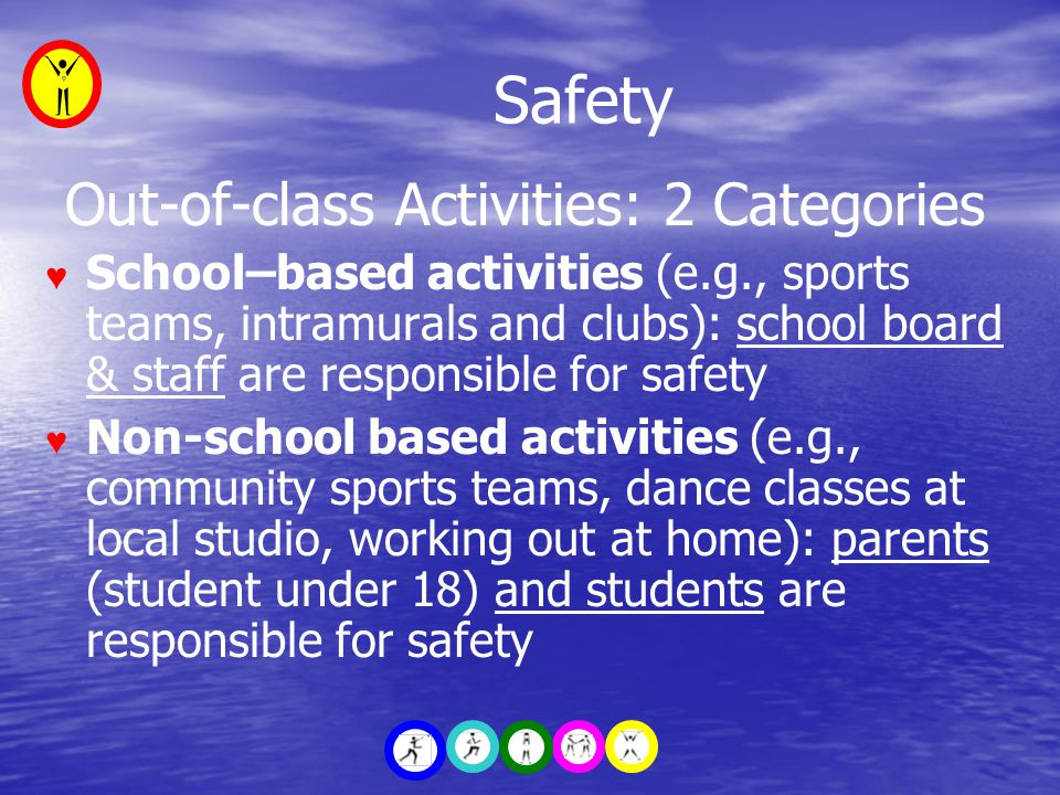 Safety Out-of-class Activities: 2 Categories ♥ School–based activities (e.g., sports teams, intramurals and clubs): school board & staff are responsible for safety ♥ Non-school based activities (e.g., community sports teams, dance classes at local studio, working out at home): parents (student under 18) and students are responsible for safety