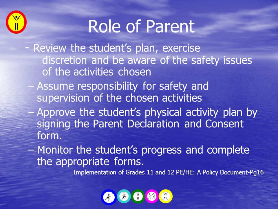 Role of Parent - Review the student's plan, exercise discretion and be aware of the safety issues of the activities chosen –Assume responsibility for safety and supervision of the chosen activities –Approve the student's physical activity plan by signing the Parent Declaration and Consent form.