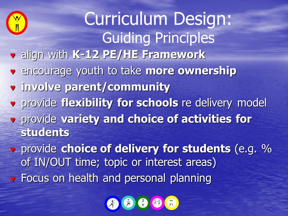 Curriculum Design: Guiding Principles ♥ align with K-12 PE/HE Framework ♥ encourage youth to take more ownership ♥ involve parent/community ♥ provide flexibility for schools re delivery model ♥ provide variety and choice of activities for students ♥ provide choice of delivery for students (e.g.