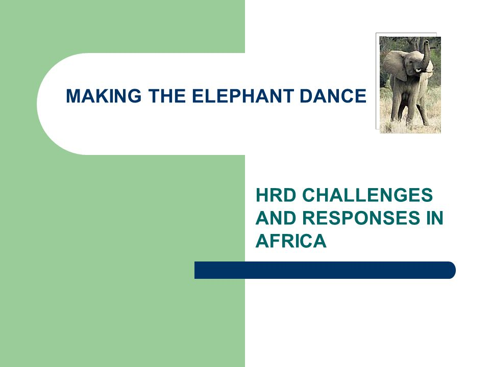 HRD CHALLENGES AND RESPONSES IN AFRICA MAKING THE ELEPHANT DANCE