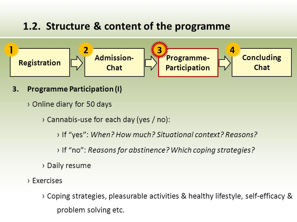 """3. Programme Participation (I) › Online diary for 50 days › Cannabis-use for each day (yes / no): › If """"yes"""": When? How much? Situational context? Rea"""