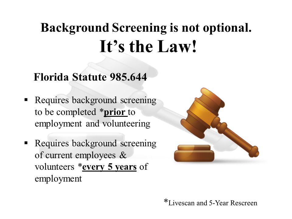 Purpose for Background Screening To ensure all applicants for employment or who want to volunteer meet screening requirements prior to having contact with youth or confidential youth records