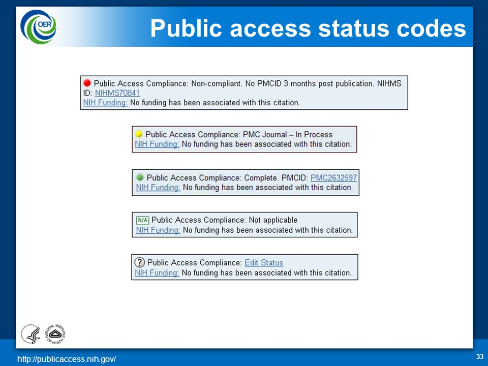 http://publicaccess.nih.gov/ Public access status codes 33