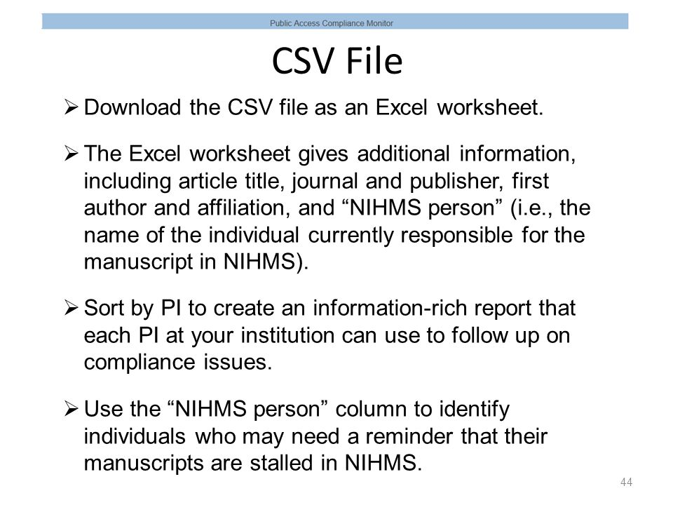CSV File  Download the CSV file as an Excel worksheet.