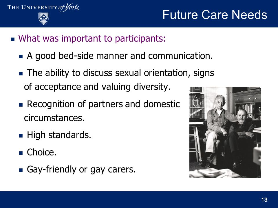 13 Future Care Needs What was important to participants: A good bed-side manner and communication. The ability to discuss sexual orientation, signs of