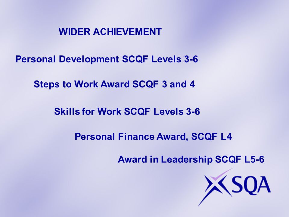 Personal Development SCQF Levels 3-6 Steps to Work Award SCQF 3 and 4 Award in Leadership SCQF L5-6 Personal Finance Award, SCQF L4 WIDER ACHIEVEMENT Skills for Work SCQF Levels 3-6