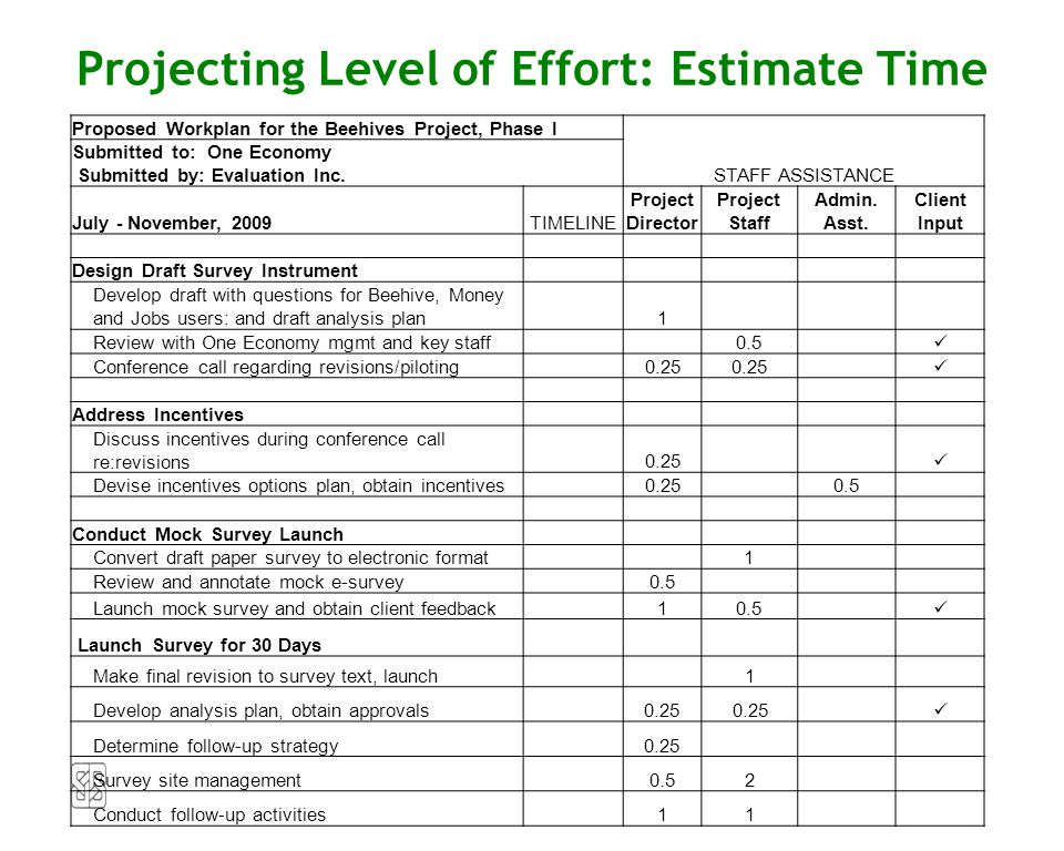 Proposed Workplan for the Beehives Project, Phase I STAFF ASSISTANCE Submitted to: One Economy Submitted by: Evaluation Inc. July - November, 2009TIME