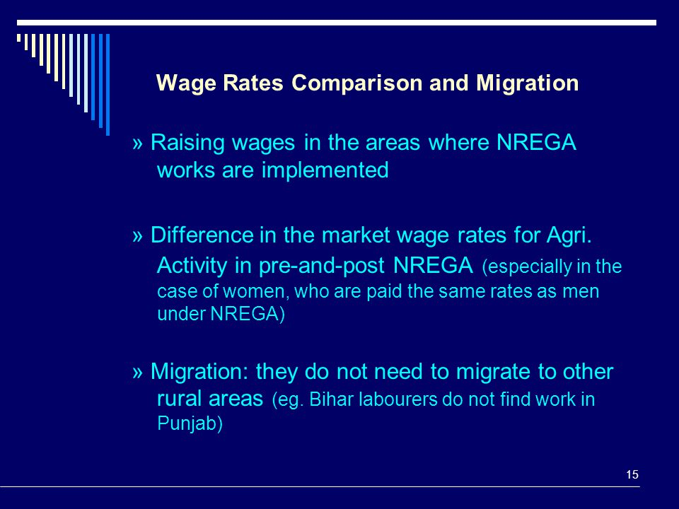 15 Wage Rates Comparison and Migration » Raising wages in the areas where NREGA works are implemented » Difference in the market wage rates for Agri.