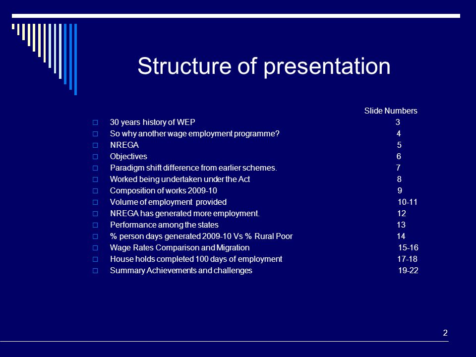 Structure of presentation Slide Numbers  30 years history of WEP 3  So why another wage employment programme? 4  NREGA 5  Objectives 6  Paradigm