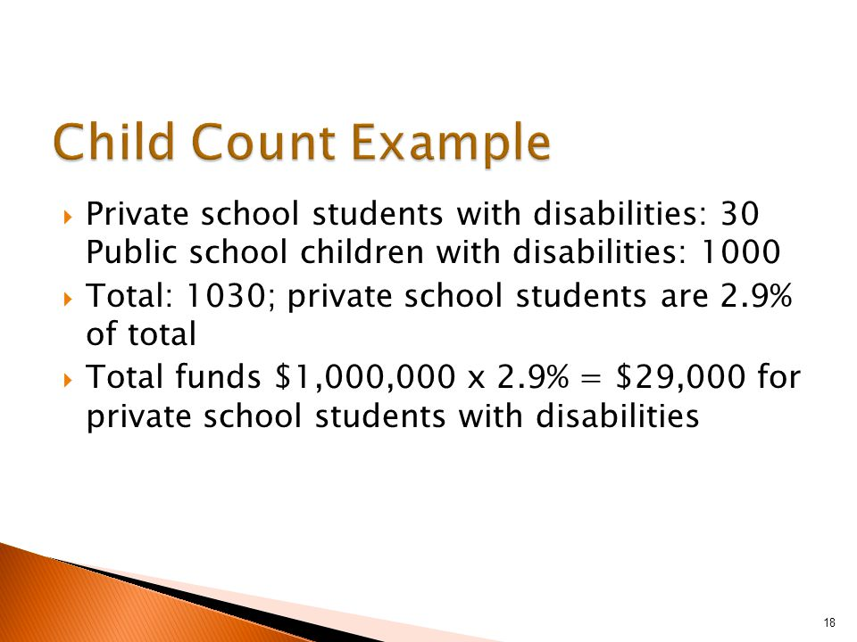  Private school students with disabilities: 30 Public school children with disabilities: 1000  Total: 1030; private school students are 2.9% of total  Total funds $1,000,000 x 2.9% = $29,000 for private school students with disabilities 18