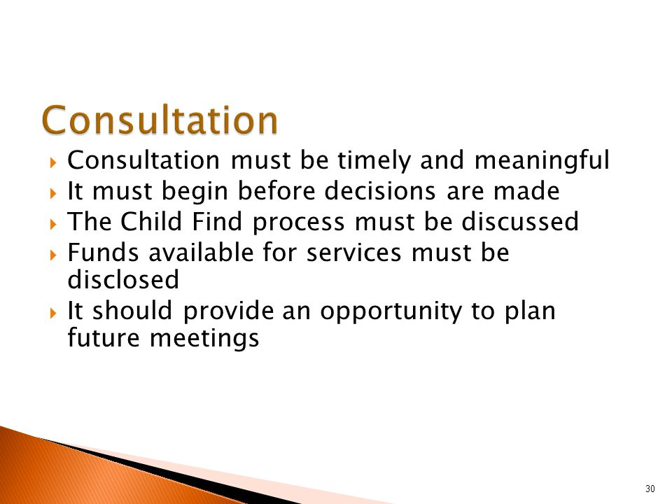  Consultation must be timely and meaningful  It must begin before decisions are made  The Child Find process must be discussed  Funds available for services must be disclosed  It should provide an opportunity to plan future meetings 30
