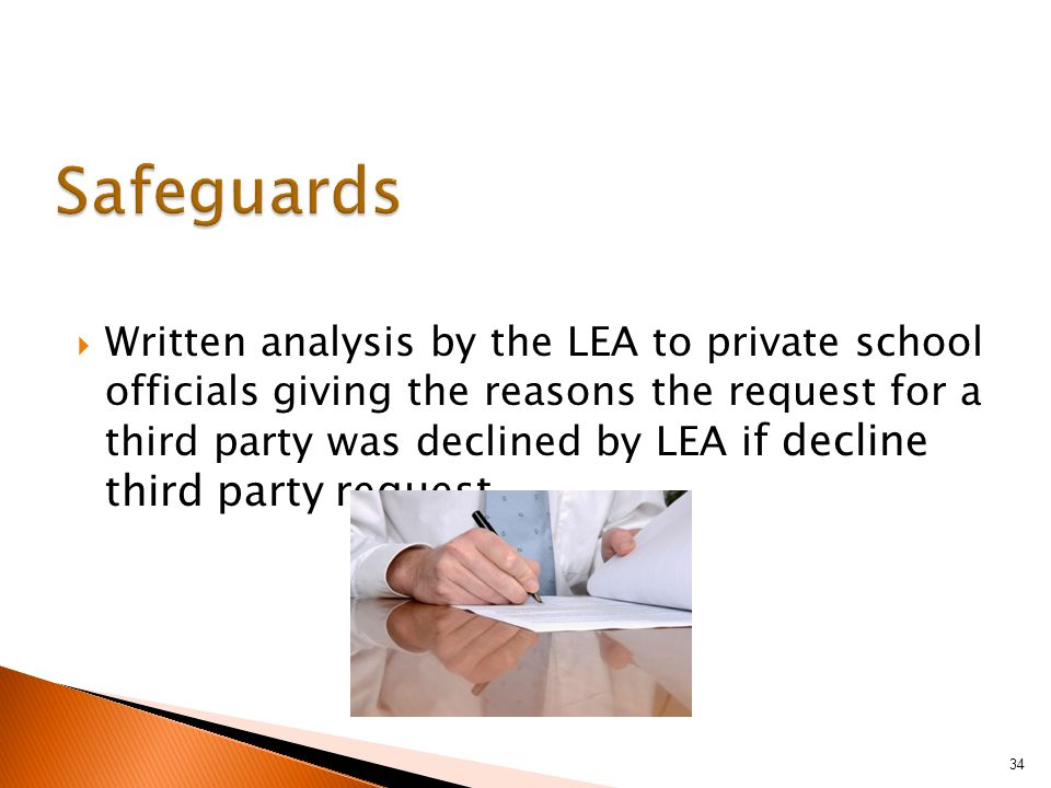 Written analysis by the LEA to private school officials giving the reasons the request for a third party was declined by LEA i f decline third party request 34