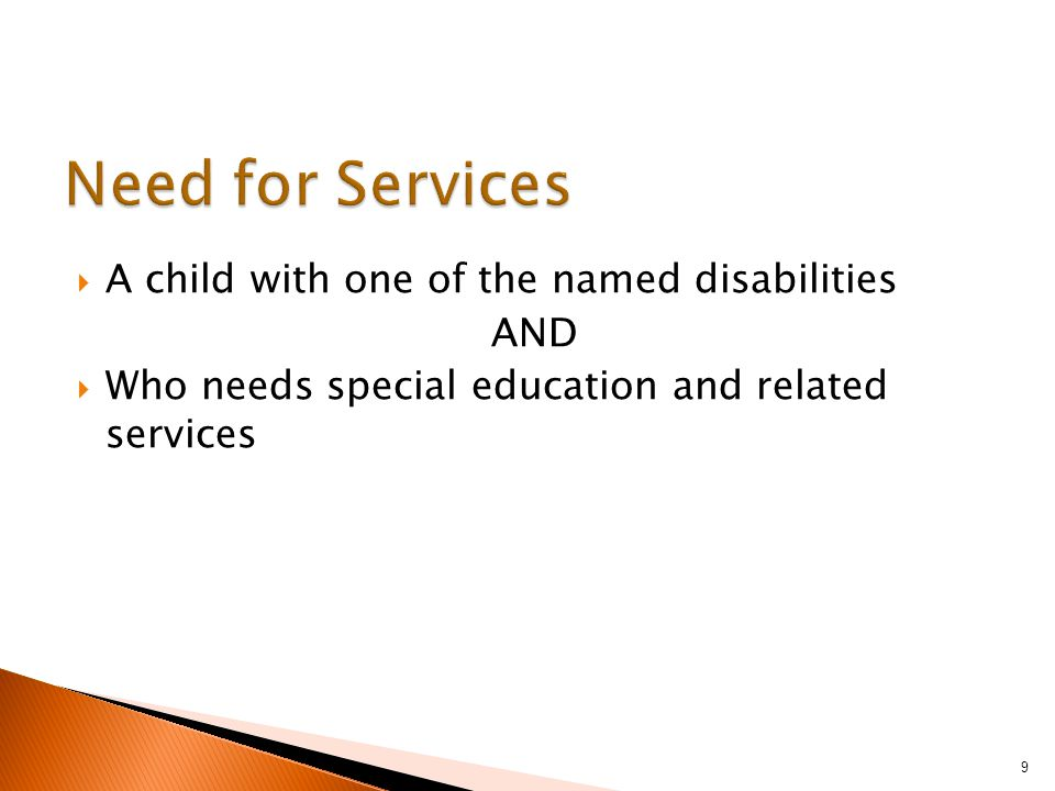  A child with one of the named disabilities AND  Who needs special education and related services 9