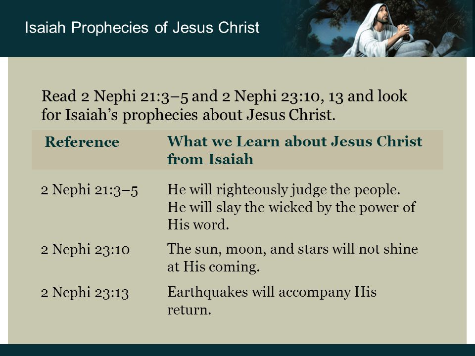 Read 2 Nephi 21:3–5 and 2 Nephi 23:10, 13 and look for Isaiah's prophecies about Jesus Christ.