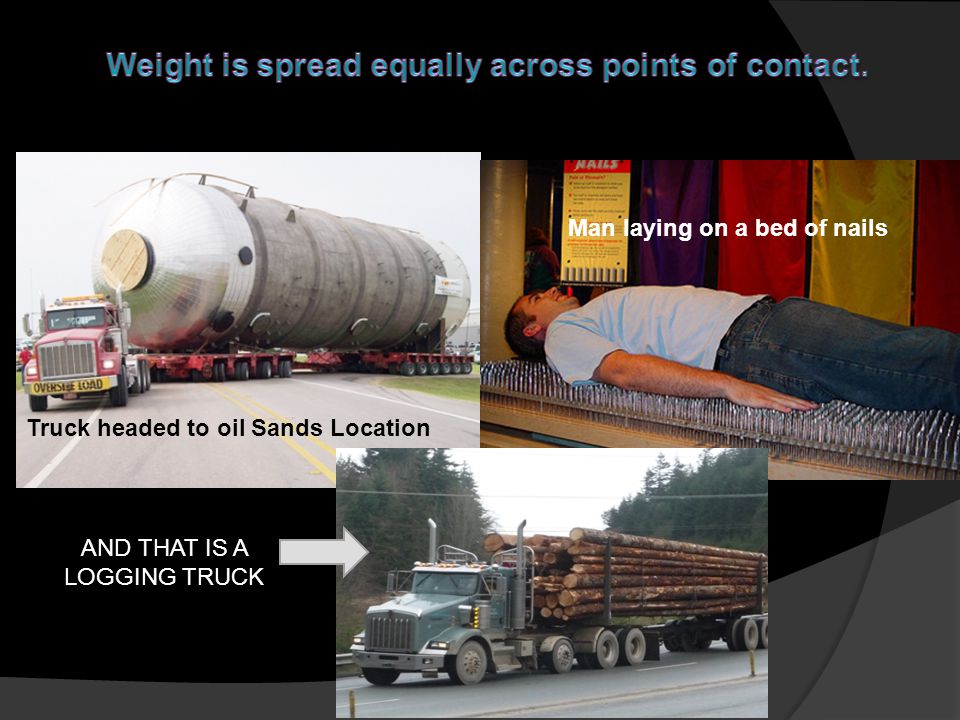 Man laying on a bed of nails Truck headed to oil Sands Location AND THAT IS A LOGGING TRUCK
