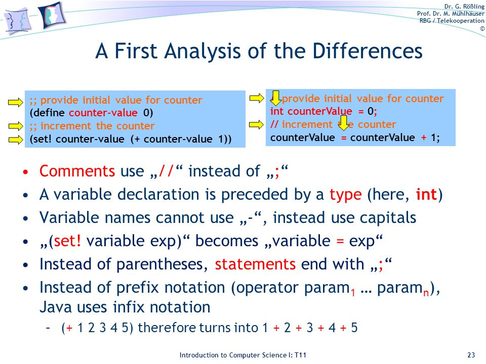 Dr. G. Rößling Prof. Dr. M. Mühlhäuser RBG / Telekooperation © Introduction to Computer Science I: T11 A First Analysis of the Differences Comments us