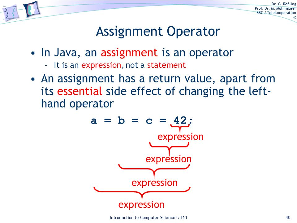 Dr. G. Rößling Prof. Dr. M. Mühlhäuser RBG / Telekooperation © Introduction to Computer Science I: T11 Assignment Operator In Java, an assignment is a