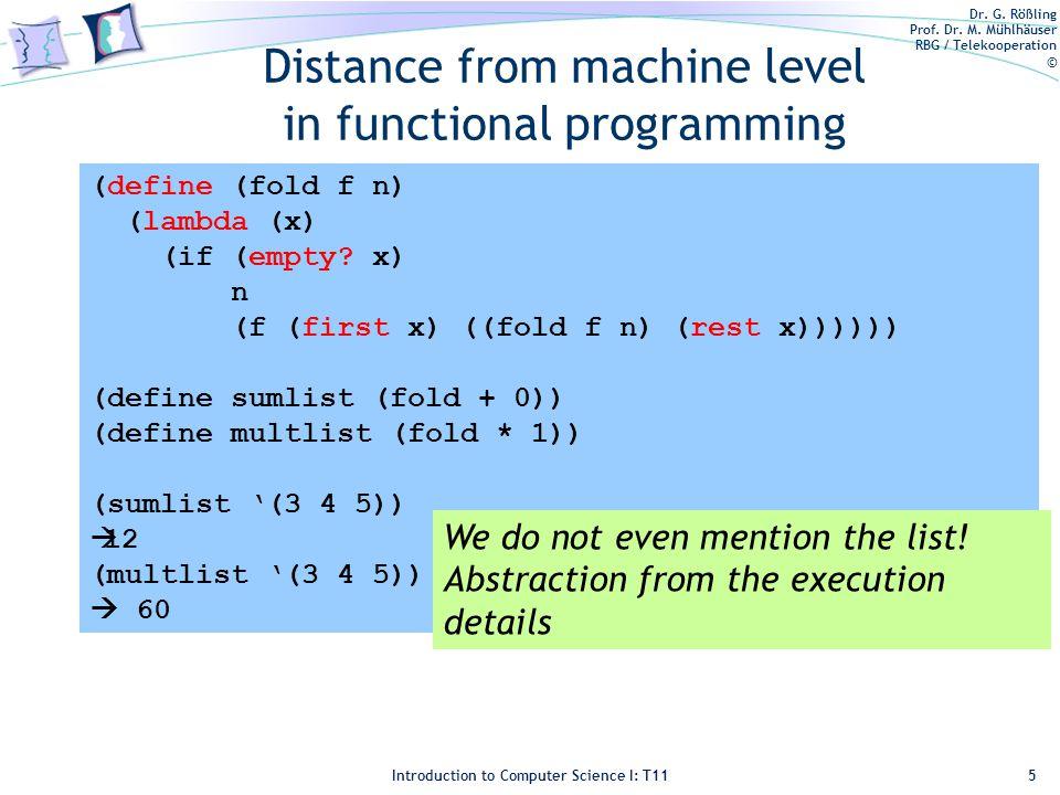 Dr. G. Rößling Prof. Dr. M. Mühlhäuser RBG / Telekooperation © Introduction to Computer Science I: T11 Distance from machine level in functional progr