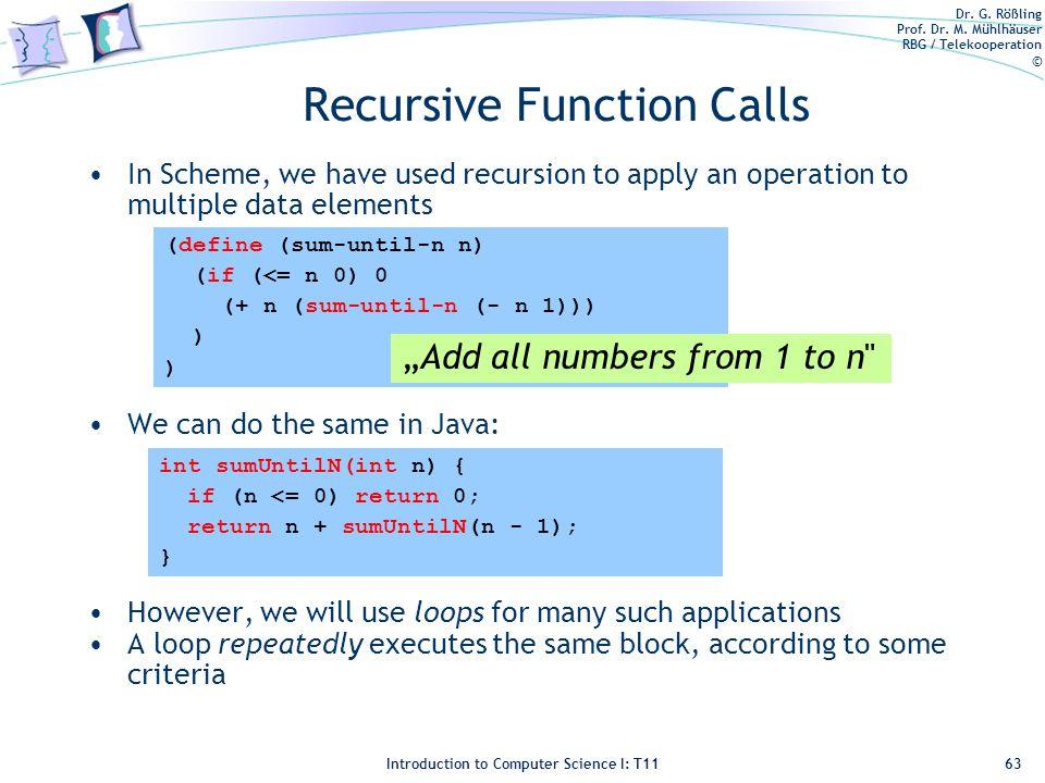 Dr. G. Rößling Prof. Dr. M. Mühlhäuser RBG / Telekooperation © Introduction to Computer Science I: T11 Recursive Function Calls In Scheme, we have use