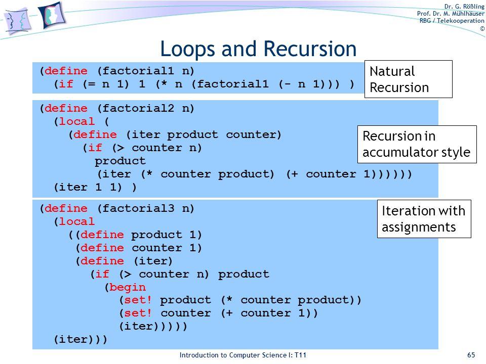 Dr. G. Rößling Prof. Dr. M. Mühlhäuser RBG / Telekooperation © Introduction to Computer Science I: T11 Loops and Recursion 65 (define (factorial1 n) (