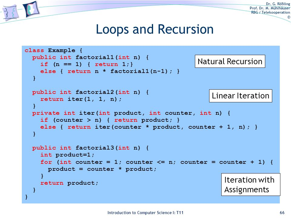 Dr. G. Rößling Prof. Dr. M. Mühlhäuser RBG / Telekooperation © Introduction to Computer Science I: T11 Loops and Recursion 66 class Example { public i