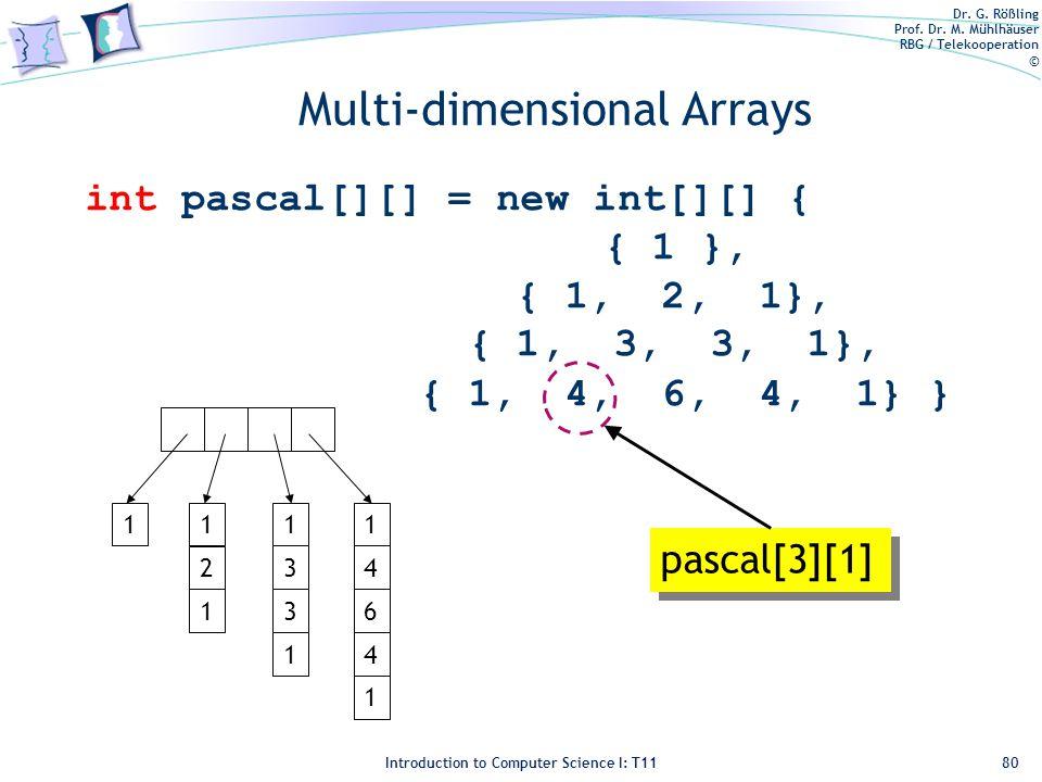 Dr. G. Rößling Prof. Dr. M. Mühlhäuser RBG / Telekooperation © Introduction to Computer Science I: T11 Multi-dimensional Arrays int pascal[][] = new i